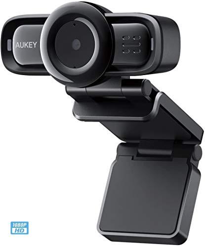 AUKEY 1080p Webcam Autofocus con Microfonos de Reducción de Ruido, Full HD USB Webcam para Videoclamada y Grabación de Pantalla Ancha