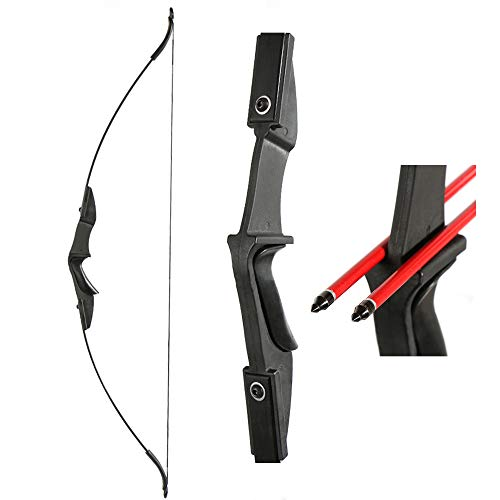 "TOPARCHERY Archery 57"" Takedown Youth Recurve Bow Hunting Black Long Bow for Beginner Teenagers Right Left Hand Black - Draw Weight 30lbs 40lbs (40)"