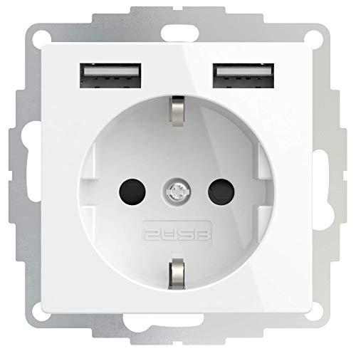 2USB inCharge PRO USB-Steckdose, mit integriertem USB Ladegerät (max. 5V/2.4A/12W) & ChargeMAX Schnellladetechnik, 2 USB Ladebuchsen, Reinweiß Glänzend