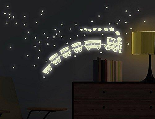 universumsum Wandtattoo Leuchtaufkleber Nachtzug 18 x 28 cm bsm065 fluoreszierend leuchten im Dunklen nachtleuchtend Wandaufkleber Wandsticker