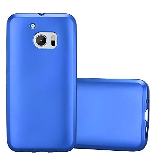 Cadorabo Hülle für HTC 10 (One M10) - Hülle in METALLIC BLAU – Handyhülle aus TPU Silikon im Matt Metallic Design - Silikonhülle Schutzhülle Ultra Slim Soft Back Cover Case Bumper