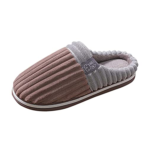 Briskorry Pantoufles confortables unisexes - Pour l'hiver - Chaud - Doux - En peluche - Antidérapantes - Pour l'intérieur et l'extérieur
