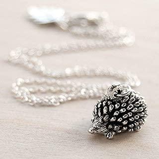 Enchanted Leaves - Little Silver Hedgehog Necklace - Cute Hedgehog Charm Necklace