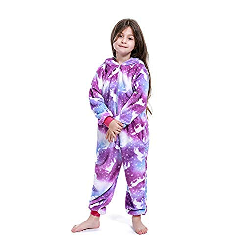 Re-Miss Kinder Tier Onesie Einhorn Tiger Lion Kostüm Cosplay Pyjamas Weihnachten (Kids Purple Moon Unicorn, Alter: 8-9 Jahre: Fit Größe 120-130CM)
