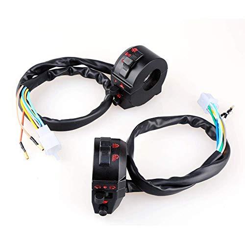 Interruptor de manillar Par de bocina multifunción de motocicleta Control de interruptor de manillar de señal de giro de haz alto/bajo