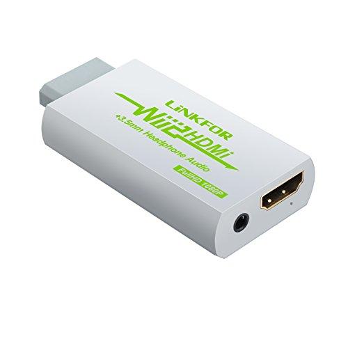 Wii HDMI Konverter von LiNKFOR 1080p Wii zu HDMI und 3,5mm Audioausgang Unterstützung ETC NTSC PAL Wii Eingang HDMI 3,5mm Ausgang Kompatibel mit HDTV-Kopfhörer - Weiß