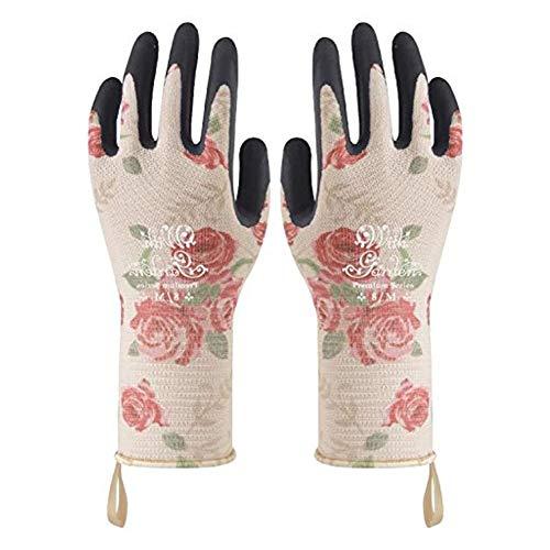 Moligin - Guantes de jardín con estampado de guantes antideslizantes y flexibles, a prueba de espinas, color rosa