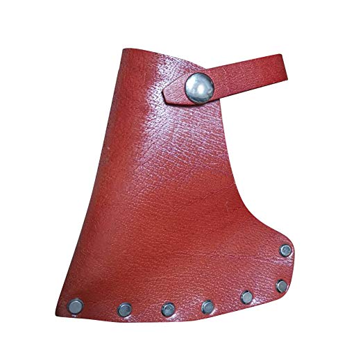 Leather Axe Head Sheath, 5.3'x4.7' Full Grained Leather Sheath Of The Axe, Axe Head Cover With Belt Loops For Better Hold Of Axe, Dark Tan Heavy Top Cover For Axe Head