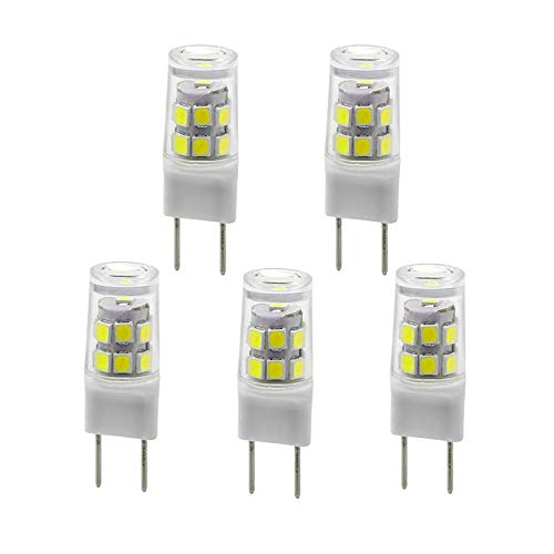 New G8 LED Light Bulb, G8 GY8.6 Bi-pin Base, 3W 120V 20W 35W Halogen Replacement Bulb for Under Counter Kitchen Lighting, Under-Cabinet Light, Puck Light (5-Pack) (White Color)