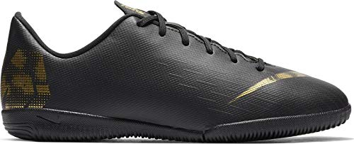 Nike Unisex-Kinder VaporX 12 Academy IC Fußballschuhe, Schwarz (Black/MTLC Vivid Gold 077), 36 EU