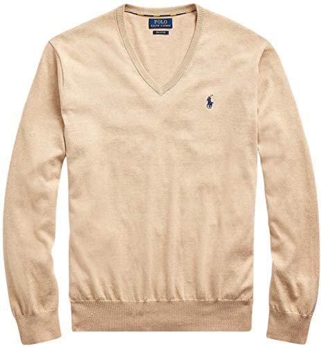 Polo Ralph Lauren Mens Pima Cotton V-Neck Sweater CamelMelange, XXL