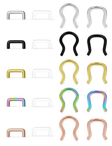 Ftovosyo 20pcs 14G Clear Flexible Septum Retainer Plastic & Surgical Steel Nose Septum Ring Piercing Jewelry for Women Men Bioflex Silver-Tone Rose Gold Black