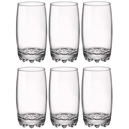 UNISHOP Set de 6 Vasos de Agua y Bebidas Alcohólicas, Vasos de Cristal Transparentes, Aptos para Lavavajillas y Microondas
