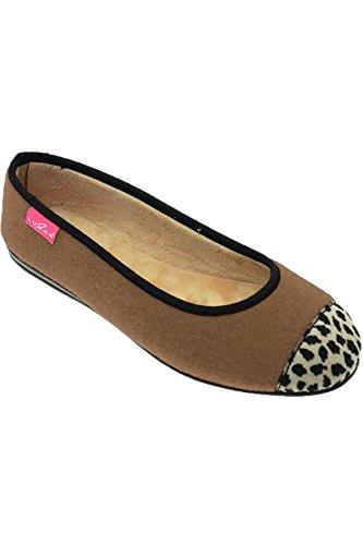 FANTASIA Boutique kla042 Denise II Súper Suave Estampado Leopardo Manoletinas Sin Cordones exterior Estilo Pantuflas - Beige, 36
