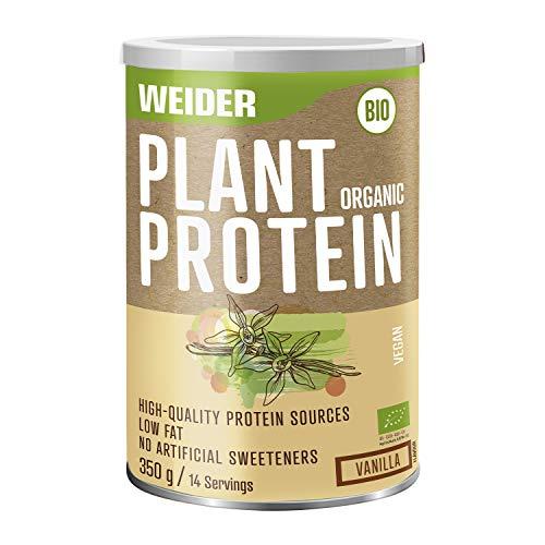 Weider Plant Organic Protein. Goût Vanille. Protéines à base de pois, de riz et de chanvre bio. 100% vegan. Faible teneur en matières grasses. Sans édulcorants artificiels. 350g