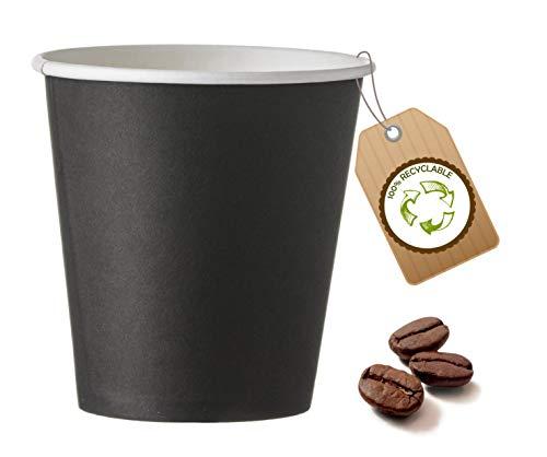 cubex professional 500 Bicchieri in cartoncino monouso Vari Formati per caffè Acqua o Bevande Calde e Fredde (Nero, 75 ML)