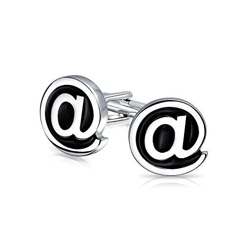 Bling Jewelry Computer Text Geek@ Schwarz Am Schild Manschettenknöpfe Für Herren Scharnier Zurück Messing Stahl-Email
