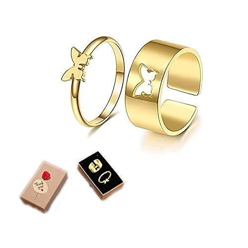 1 par fjärilsring för kvinnor män, matchande fjärilsringar för par vänskapsringar för bästa vänner löfte parring för henne, för tonårstjejer justerbar fingertumme smycken e guld, colore: Guld