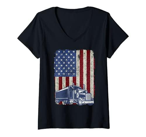 Mujer Diseño vintage de la bandera americana camionero estadounidense camión conductor grunge Camiseta...