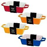Juego de 4 moldes rectangulares para horno pequeño a mesa, para lasaña, tarta, cacerola, tapas, platos para hornear (5 x 10 x 12 cm)