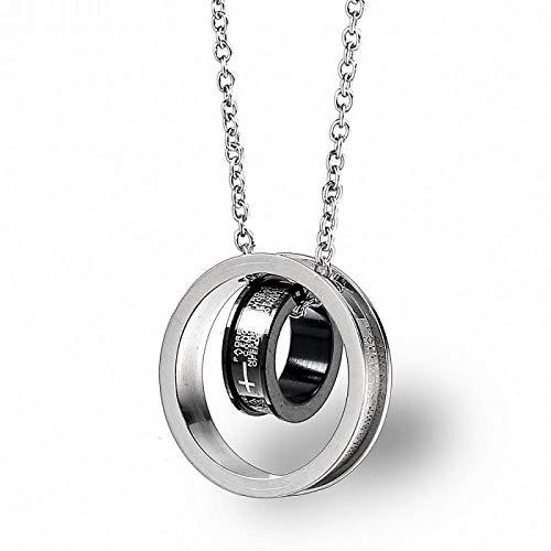 Tamaño doble anillo Cruz Escritura Titanio Acero Collar Negro Y Blanco Colgante Accesorios Para Hombres Y Mujeres