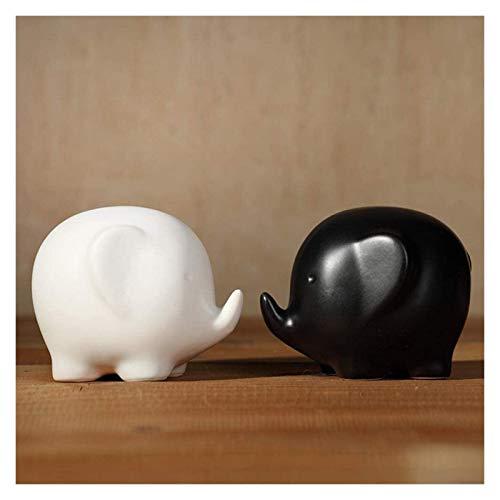 Escultura de escritorio Estatua de elefante en blanco y negro pareja de cerámica abstracta animal escultura artesanía decoración accesorios arte figurines cumpleaños regalos de boda