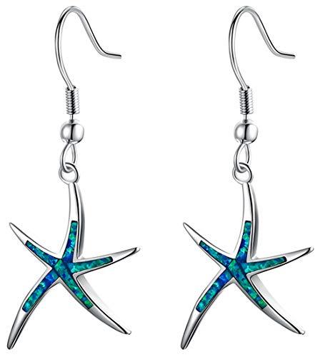 Sterling Silver Starfish Necklace Pendant Earrings Blue Opal White Opal or Green Opal Pendant Necklace (Women Gift Blue Opel Silver Earrings)