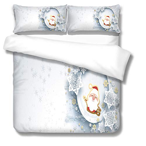 Parure de lit avec Housse de Couette Noël Blanc Pleine Grandeur en Polyester élégant et de Haute qualité 140x200 cm