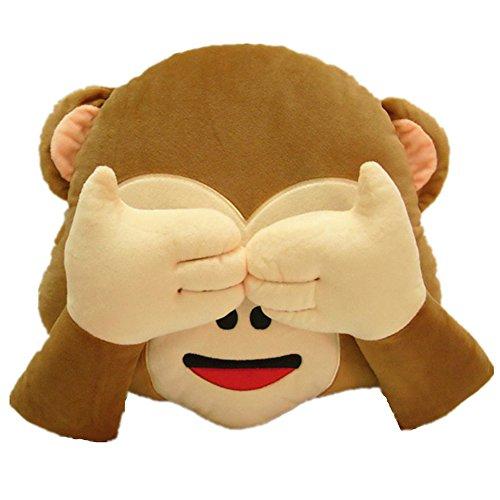 LI&HI 32 mc Emoji Smiley Émoticône Coussin jaune rond Oreiller rembourré Peluche douce Jouet, marron, 32 cm de diamètre 10 cm (épaisseur)