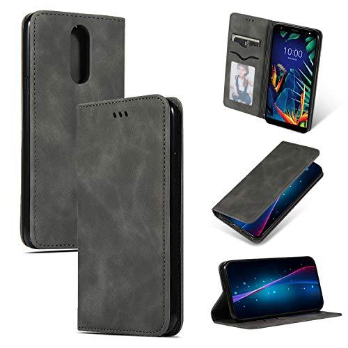 GoodcAcy Hülle Kompatibel mit LG K40 + Panzerglas Leder Flip Schutzhülle Handy Lederhülle Tasche Klapphülle für LG K40 Dunkelgrau