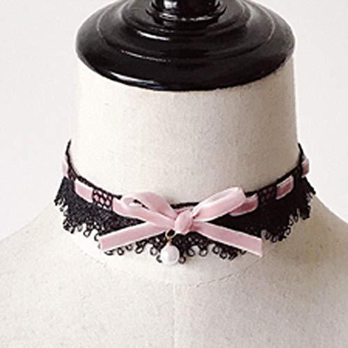 Houer Gothletic zwarte kant choker ketting fluweel strik parel drop kraag ketting vrouwen Steampunk bruiloft sieraden, roze