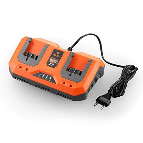 Fuxtec Li-Ion Doppel-Schnell-Ladegerät 2,4A 70W E1LG2A –für 2Ah & 4Ah Batterie passend 20 Volt Gartengeräte – Ladespannung 20.9V