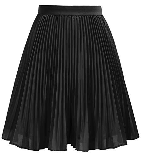 GRACE KARIN Girl's Pleated Skirt Elastic Waist A-line Flowy Midi Skirt Black 12 Years