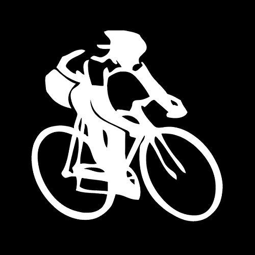 Cycling Person Vinyl Decal Sticker|Cars Trucks Vans Walls Laptops|White|5.5 in|KCD597