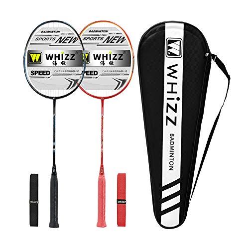 Whizz Kratzfestes Design Carbon Badminton Set Schläger Racket Ultraleicht Graphit 2 STK mit Schlägertasche & 2 Griffbänder (Sword Schwarz+Rot)