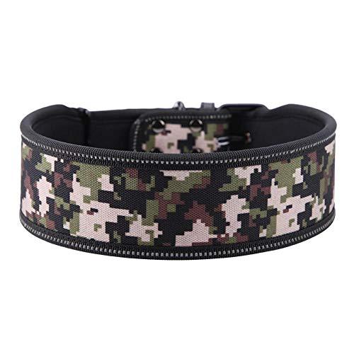 Pssopp Cuello del Animal doméstico de Nylon Ajustable Collar de Perro de la Hebilla Reflectante Collar de adiestramiento de Perros con Relleno Suave para Perros medianos(M-Camuflaje Militar)