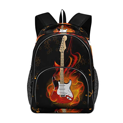 Bardic Shcool Rucksack, Musiknoten, brennende Gitarre, Feuerwerk, langlebige Tasche, Arbeitstasche, leicht, Laptop-Tasche, wasserdicht, Schulrucksack, Geschenke für Männer und Frauen