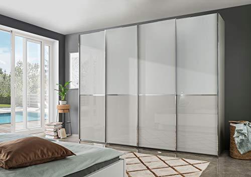 WIEMANN Shanghai 2 Kleiderschrank, Schwebetürenschrank, Schlafzimmerschrank, mit Schiebetüren, Breite 400 cm, weiß, Glas grau, Kieselgrau, Holz, B/H/T 400x236x67 cm