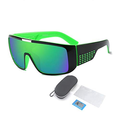 Gafas De Sol Polarizadas, Montura De Plástico Grande para Gafas Cuadradas Y Planas, Adecuadas para Hombres Y Mujeres Que Pescan, Montan Y Conducen,Verde