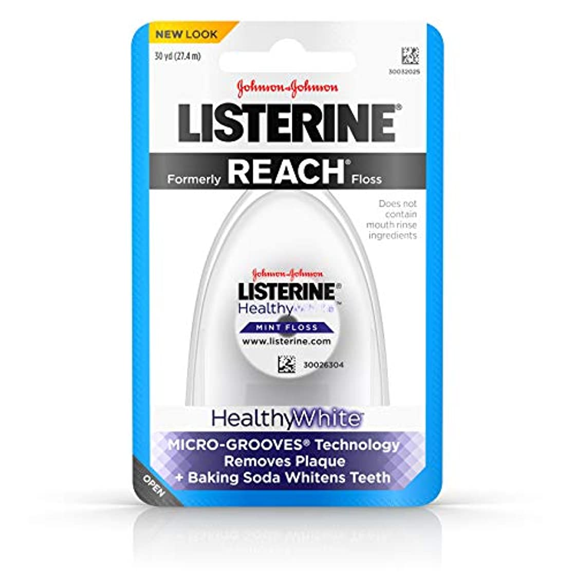 Listerine Healthy White, Interdental Floss with Baking Soda, Oral Care and Hygiene, Mint, 30 Yards