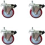 4 Inch Total Lock Caster - Red Polyurethane Wheel - 1/2'-13 x1-1/2' Threaded Stem Set of 4