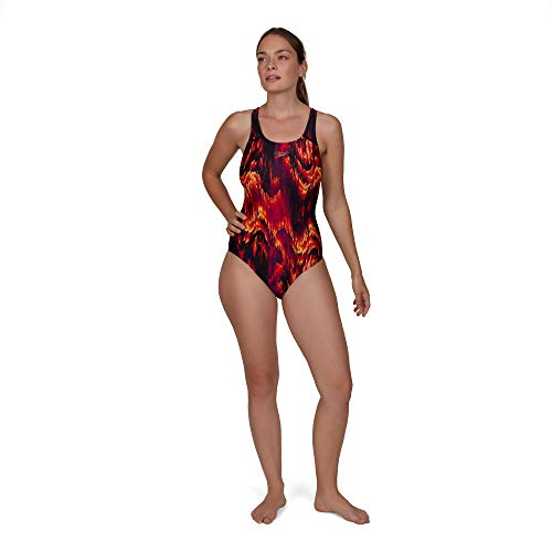 Speedo Damen Badeanzug Colourwild Allover Powerback 42 schwarz/elektrisch rosa/Mango
