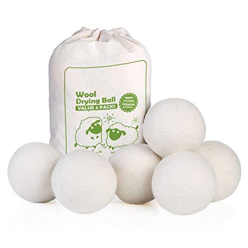 6 bolas de secado de lana para lavar la ropa, suavizante de telas orgánico alternativo 100% lana original de Nueva Zelanda, hecho a mano natural, adecuado para bebés y personas alérgicas