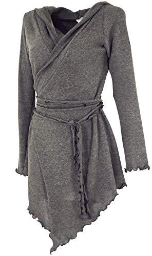 GURU SHOP Pixi Wickel-Strickjacke, Damen, Granitgrau, Baumwolle, Size:38, Jacken, Mäntel & Ponchos Alternative Bekleidung