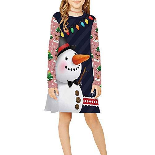 Weihnachten Kleid Mädchen Fallen, Chickwin Lässige Klassischer Rundhals T-Shirt Kleider Sanft Lange Ärmel Mädchen Outfits Kinderkleidung Anzug 9-12 Jahre (Rosa Schneemann,S: 125-145cm)