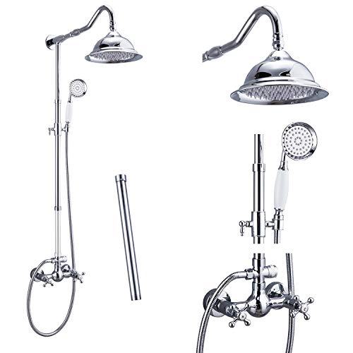 Shower Faucet Polish Chrome 8 Inch Rainfall Shower Head 12 Inch Extension Tube Included Handheld Spray Shower Fixture Dual Knobs Mixer Bathroom Shower System Combo Set Wall Mount