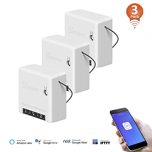 SONOFF MINI 3PCS Interruttore WiFi Wireless intelligente per Smart Home, Funziona con Alexa,Google Home Assistant