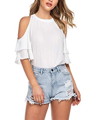 Beyove Damen Chiffon Bluse Schulterfrei 3/4 Ärmel Cut Out Shirt Loose Fit Off Shoulder Oberteile Tops (XL, Weiß)