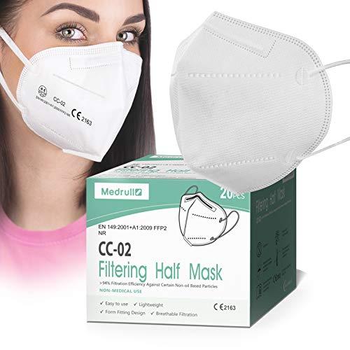 Medrull FFP2 Maske CE zertifiziert - 20 Stk., Masken mundschutz FFP2, 5-lagig Respirator mit elastischen Ohrschlaufen Mund und nasenschutz