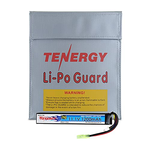 Tenergy Airsoft Battery 11.1V, 1200mAh High Capacity Stick LiPo Battery Pack, Rechargeable Hobby Battery for AEGs w/Mini Tamiya Connector